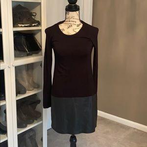 Bailey 44 Sz S Black Mini Dress Leather and Modal
